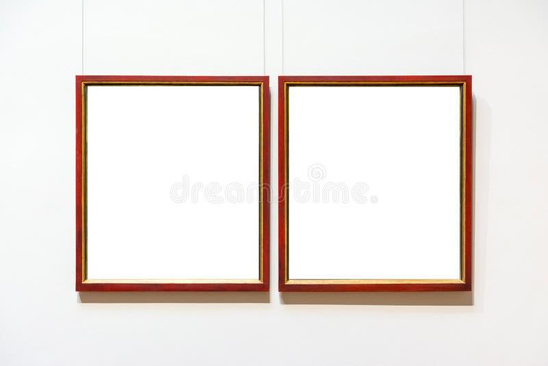 Pusty muzeum sztuki Odizolowywająca obraz ramy dekoracja Indoors Izoluje obraz stock