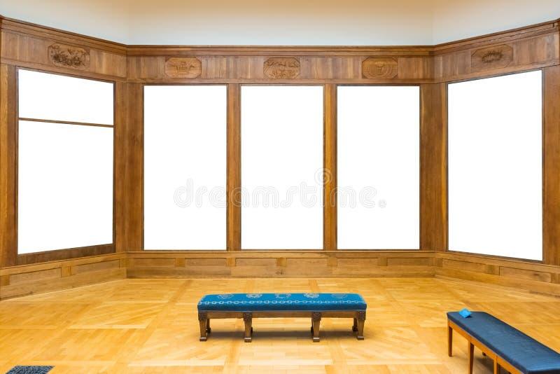 Pusty muzeum sztuki Odizolowywająca obraz ramy dekoracja Indoors Izoluje fotografia stock