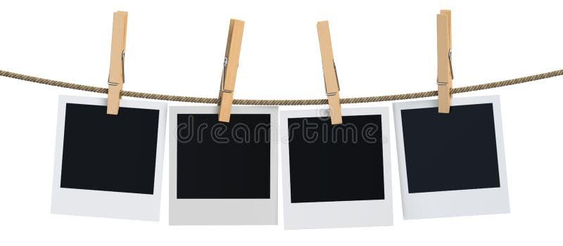Pusty natychmiastowy fotografii obwieszenie na clothesline, 3D rendering ilustracja wektor