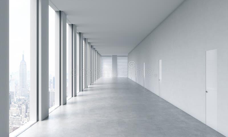 Pusty nowożytny jaskrawy czysty wnętrze otwartej przestrzeni biuro Ogromni panoramiczni okno ilustracji