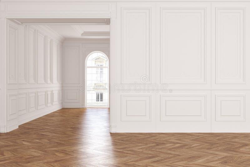 Pusty nowożytny klasyczny biały wewnętrzny pokój ilustracja wektor