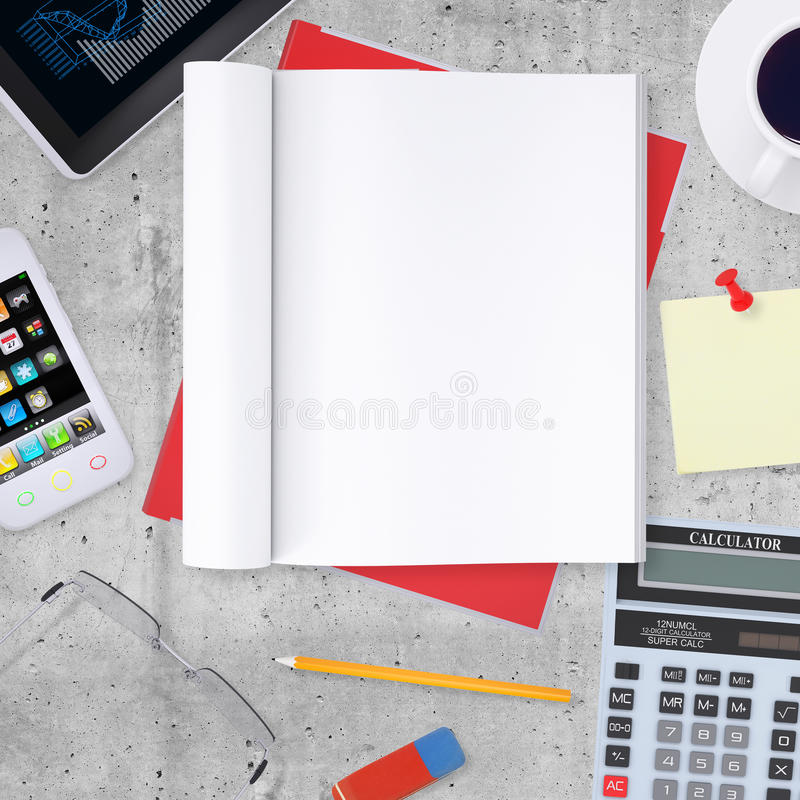 Pusty nutowy ochraniacz z biurem i biznesową pracą ilustracji