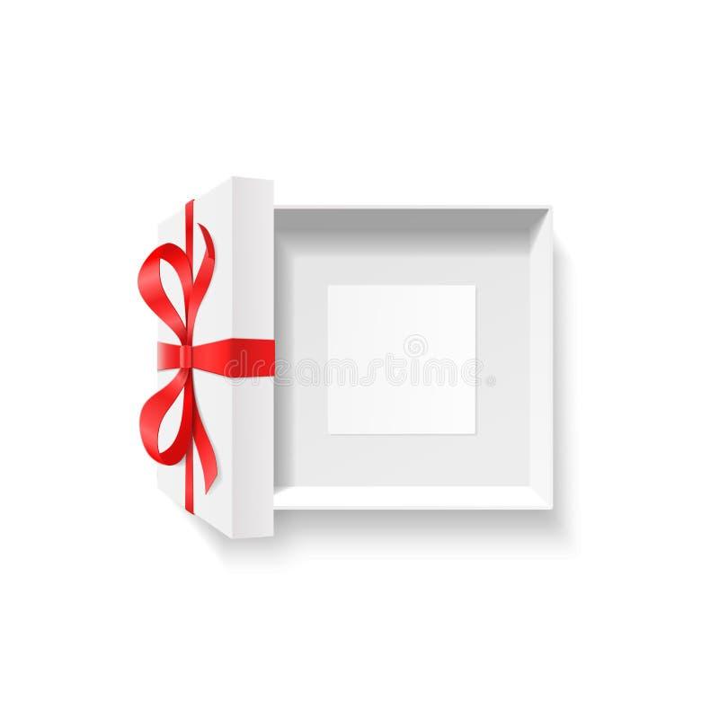 Pusty otwarty prezenta pudełko, czerwonego koloru łęku kępka, faborek z pustą fotografii ramą, kartka z pozdrowieniami inside odi royalty ilustracja
