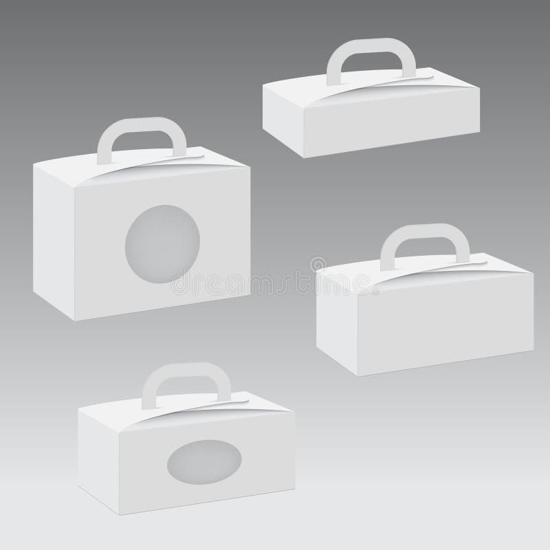 Pusty papier lub karton z rękojeścią i z dziurą wektor ilustracji