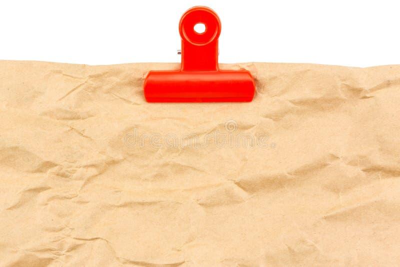 Pusty papier z czerwoną klamerką zdjęcie stock