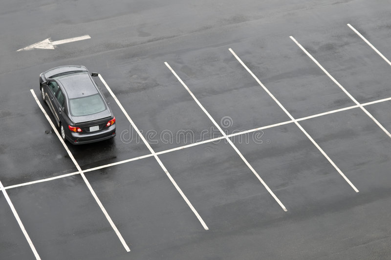 pusty parking samochodu partii pojedyncze fotografia stock