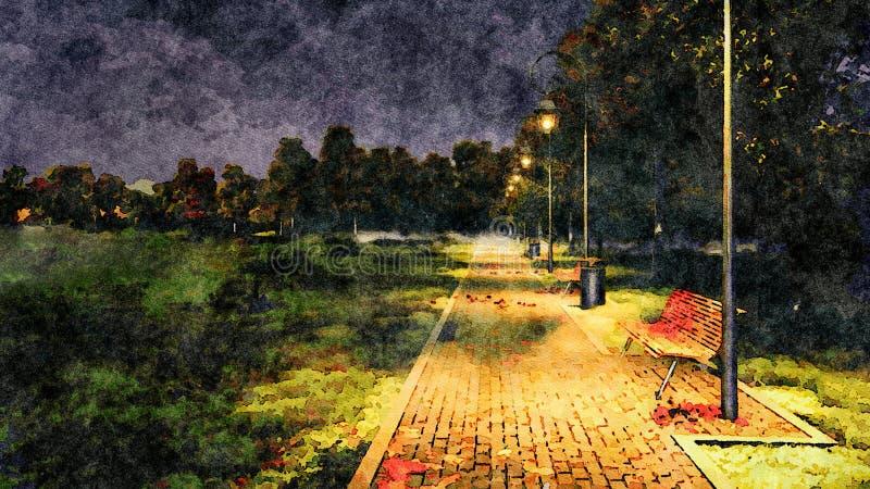 Pusty parkowy alei jesieni nocy akwareli krajobraz royalty ilustracja