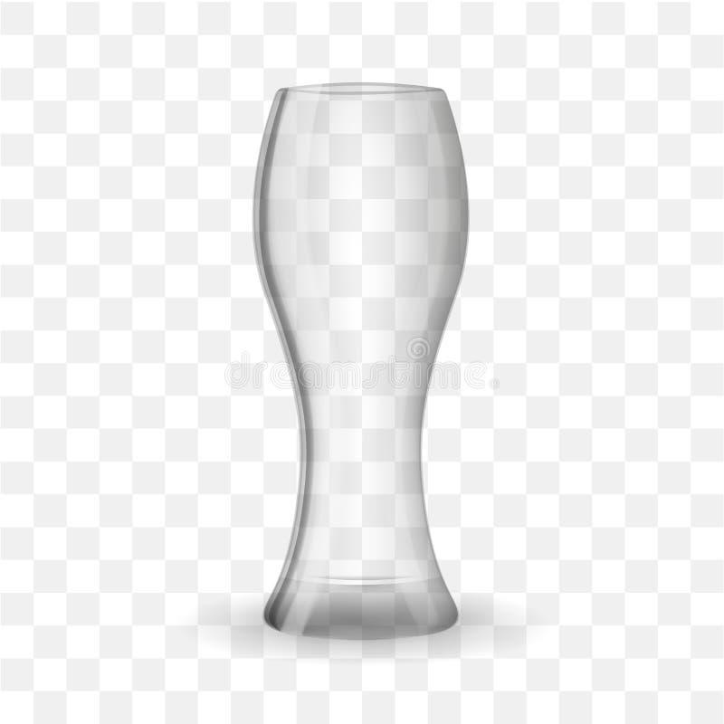 Pusty piwny szkło odizolowywający na przejrzystym skutka tle ilustracji