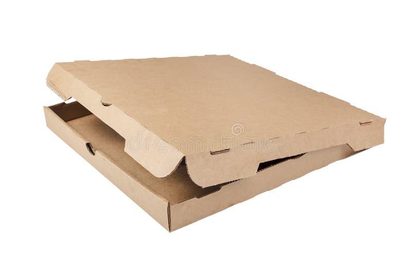 Pusty pizzy pudełko Na bielu obrazy stock