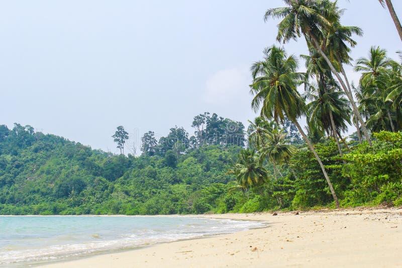 Pusty plaża jasnego piasek w Poncan wyspie Sibolga Indonezja obraz royalty free