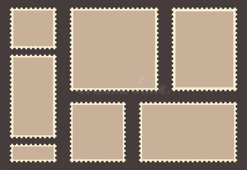 Pusty poczta znaczka set Pusty znaczek pocztowy Rocznik ramy odizolowywać na tle royalty ilustracja