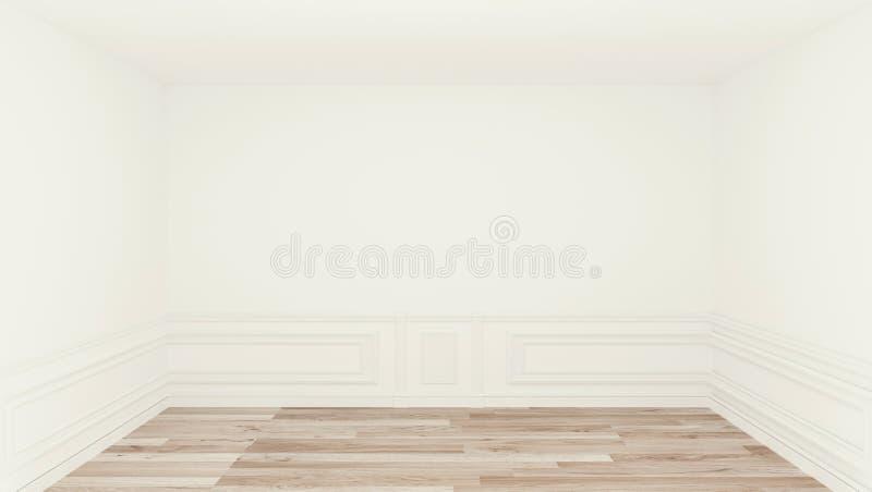 Pusty pokój, czysty pokój, drewniany podłogowy biel ściany tło ?wiadczenia 3 d ilustracja wektor