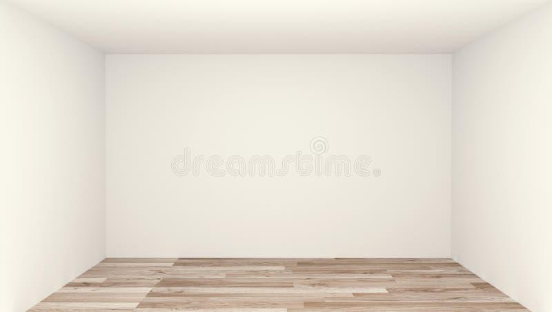 Pusty pokój, czysty pokój, drewniany podłogowy biel ściany tło ?wiadczenia 3 d ilustracji