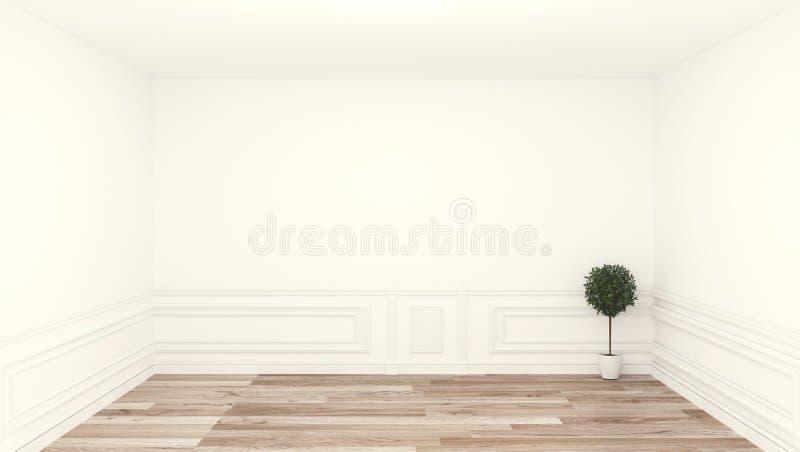 Pusty pokój, czysty pokój, drewniany podłogowy biel ściany tło ?wiadczenia 3 d royalty ilustracja