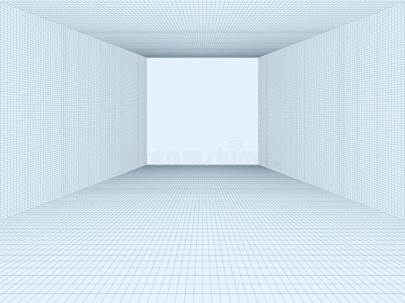 Pusty pokój, 3D abstrakcjonistyczne komórki, wykłada Wektorowy pojęcie rzeczywistości wirtualnej unaocznienia siatka, siatka Elem ilustracji