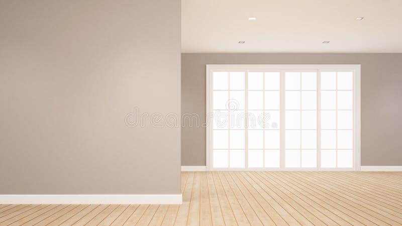 Pusty pokój dla grafika pokoju dla czynszu mieszkanie lub dom 3D rendering - Wewnętrzny projekt - ilustracja wektor
