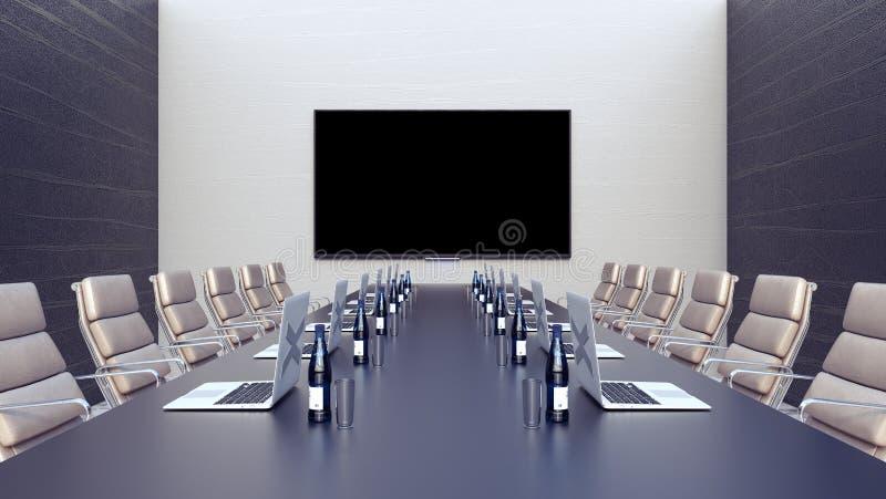 Pusty pokój konferencyjny i konferencyjny stół z laptopami 3d odpłacamy się 3d ilustrację ilustracja wektor