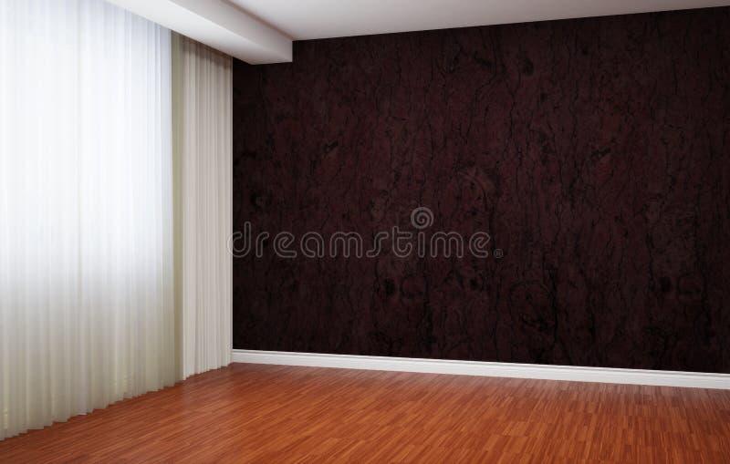 Pusty pokój niedawno odnawi W wnętrzu tam jest story, baseboards i tapeta z wzorem ilustracji