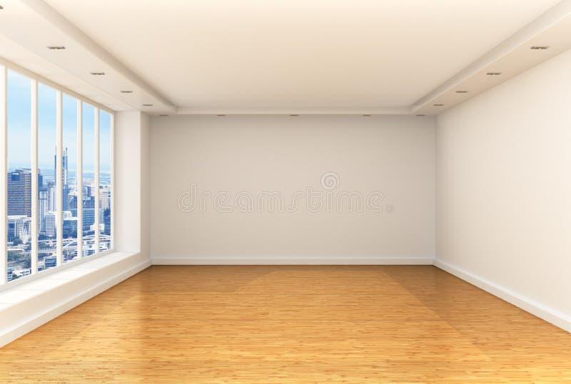 Pusty pokój, panoramiczni okno obraz stock