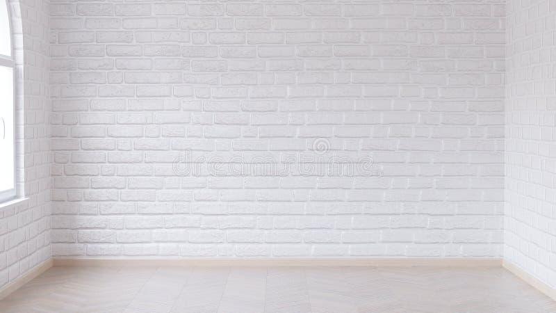 Pusty pokój w świateł brzmieniach z drewnianą parkietową podłogą i ścianami z cegieł malował białą glosy farbę ilustracja wektor