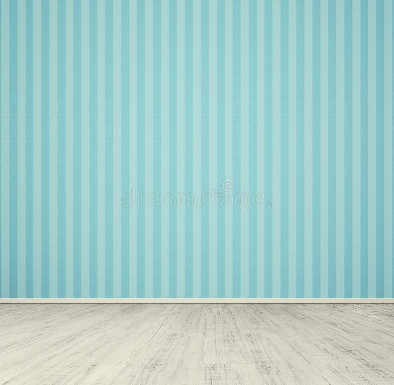 Pusty pokój z błękitną tapetą fotografia stock