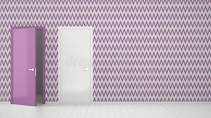 Pusty pokój z białym, purpurowym tapetowym wewnętrznym projektem z drzwiami z ramą i, drewniana biała podłoga Wybór, royalty ilustracja