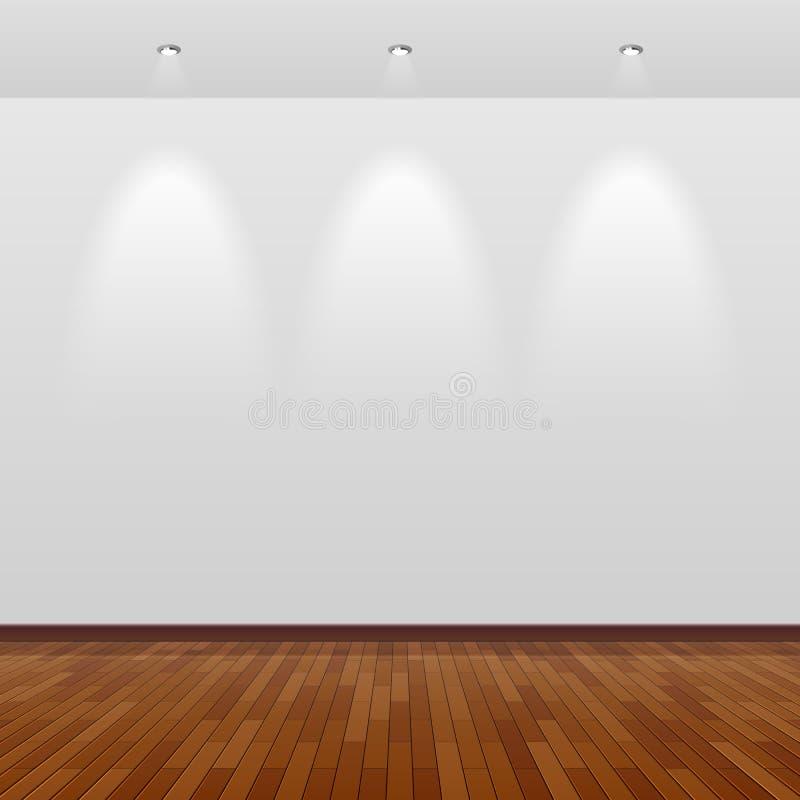 Pusty pokój z biel ścianą i drewnianą podłoga royalty ilustracja