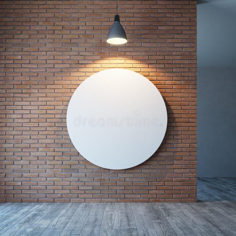 Pusty pokój z ceglaną ścianą i oświetleniem ilustracja wektor