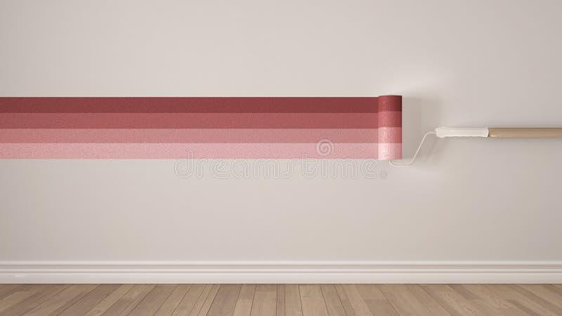 Pusty pokój z farba rolownikami i malującym ocechowaniem, drewniana podłoga, royalty ilustracja