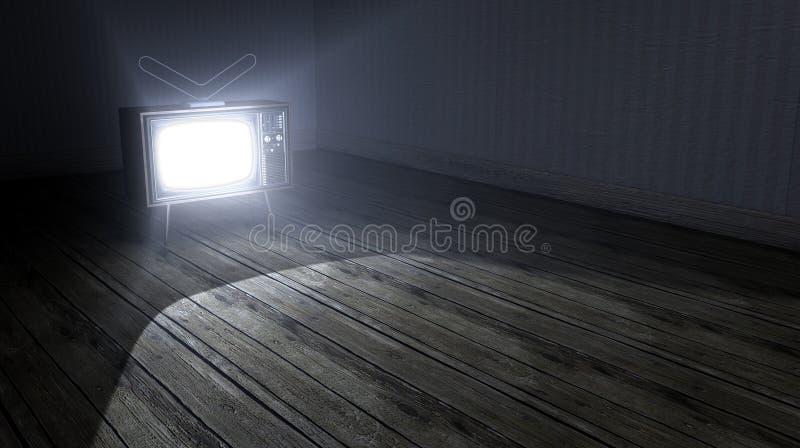 Pusty pokój Z Iluminującą telewizją obraz stock
