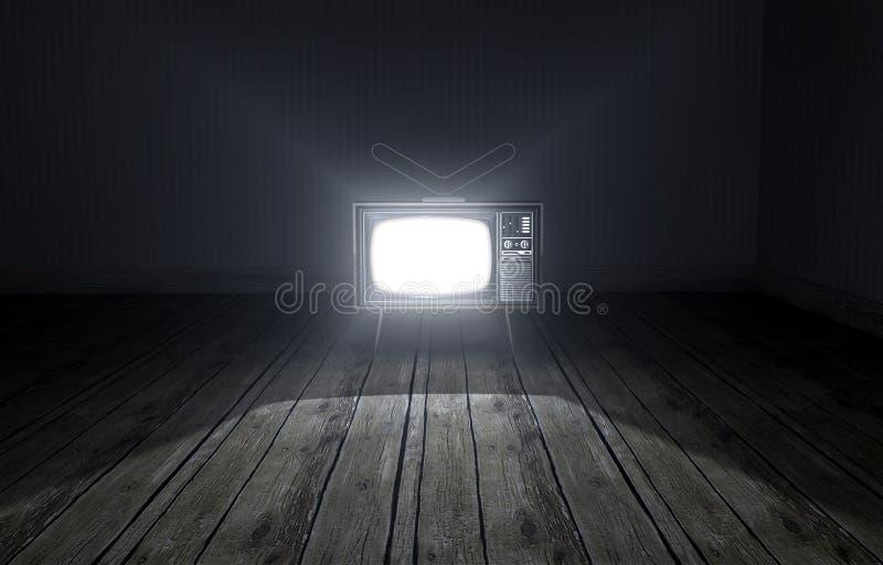 Pusty pokój Z Iluminującą telewizją zdjęcia royalty free