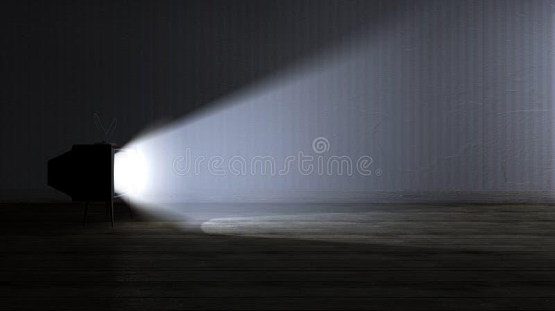 Pusty pokój Z Iluminującą telewizją fotografia stock