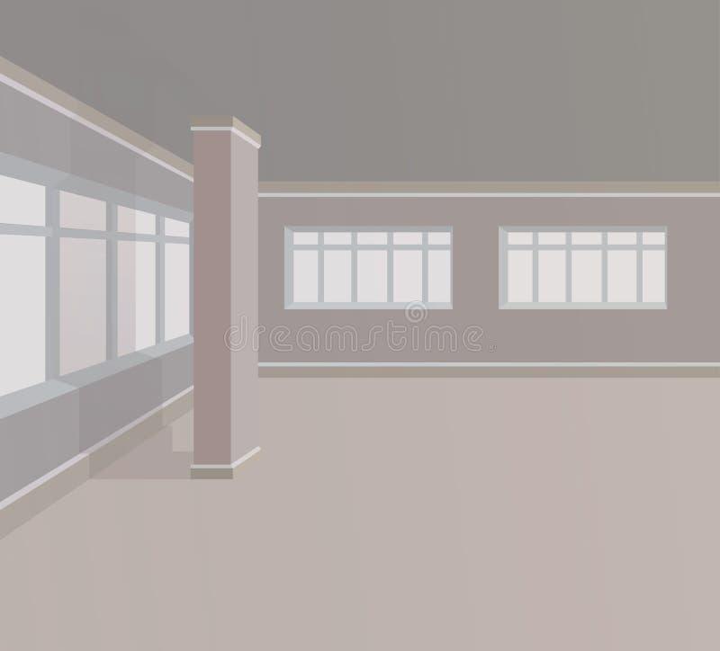 Pusty pokój z kolumnami i ampuł okno również zwrócić corel ilustracji wektora royalty ilustracja