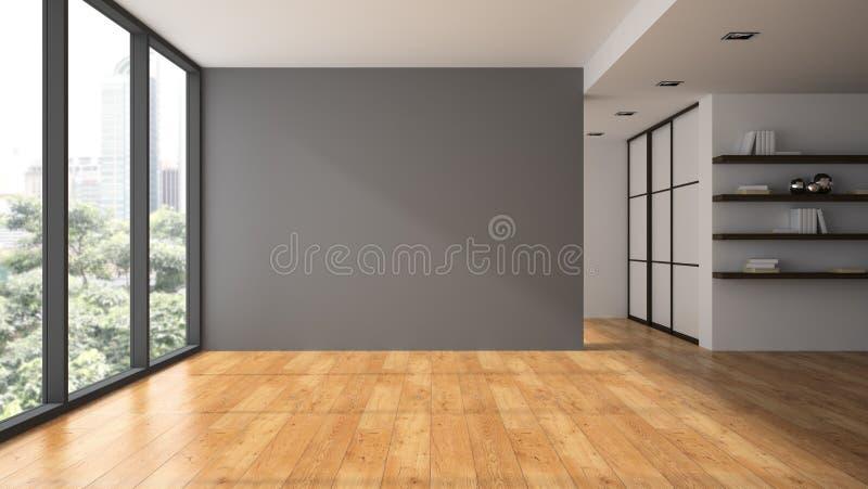 Pusty pokój z książkowymi shelfs ilustracji