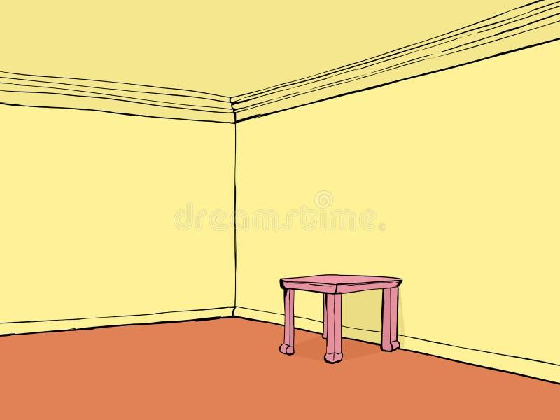 Pusty pokój z menchia stołem ilustracja wektor