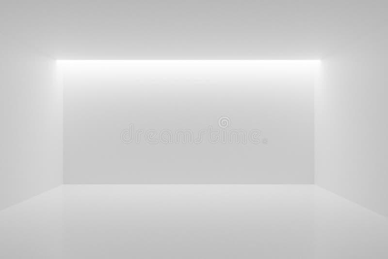 Pusty pokój z oświetleniem tylnym od sufitu — galeria lub nowoczesny szablon wnętrz, ilustracja 3D ilustracja wektor