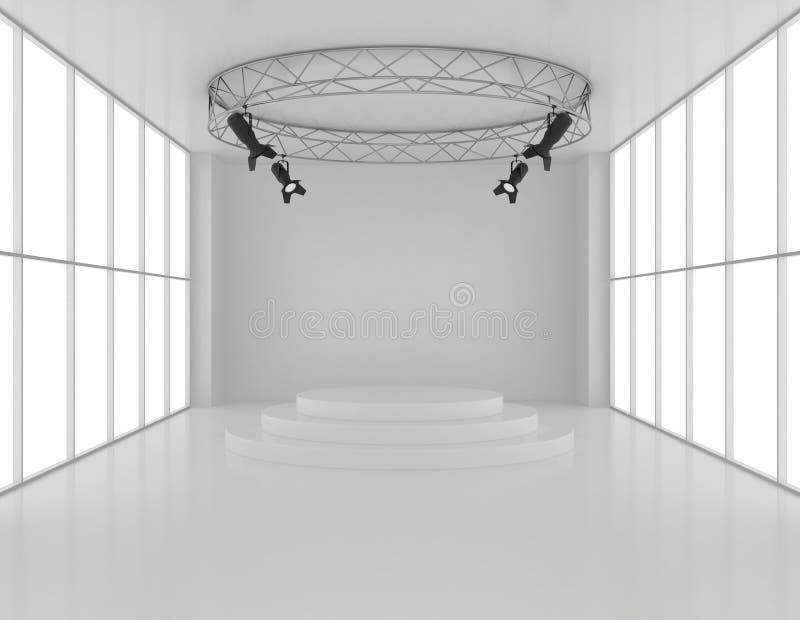 Download Pusty Pokój Z Round Piedestałem I światłami Reflektorów Ilustracji - Ilustracja złożonej z zaciemnia, glassblower: 53775050