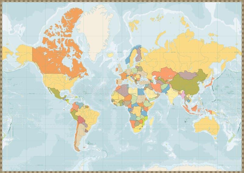 Pusty Polityczny Światowej mapy rocznika kolor z jeziorami i rzekami ilustracji