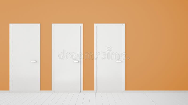 Pusty pomarańczowy izbowy wewnętrzny projekt z zamkniętymi drzwiami z ramą, drzwiowe rękojeści, drewniana biała podłoga Wybór, de fotografia stock