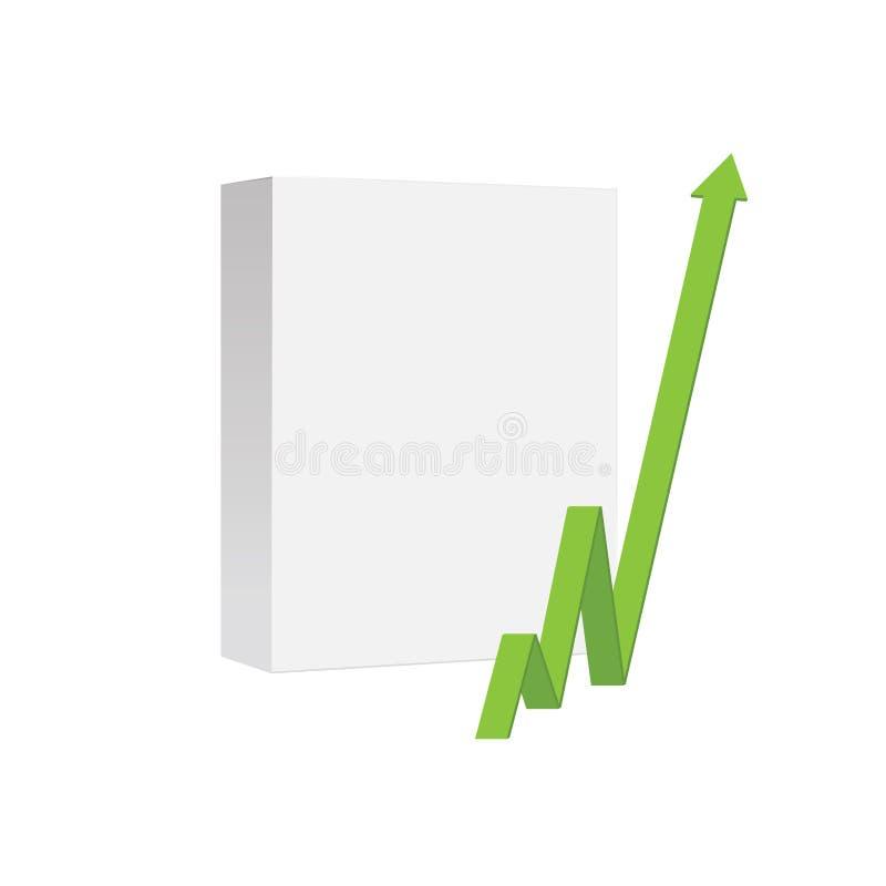 Pusty produktu pudełko z zieloną strzała target339_0_ zielony ilustracja wektor