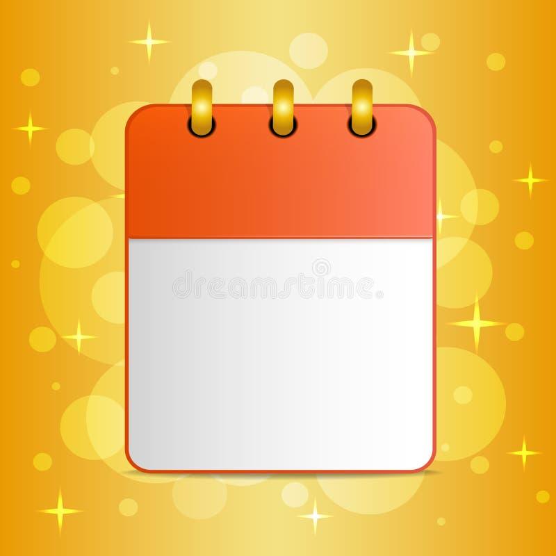 Pusty prześcieradło kalendarz na świątecznym kolorowym tle ilustracji