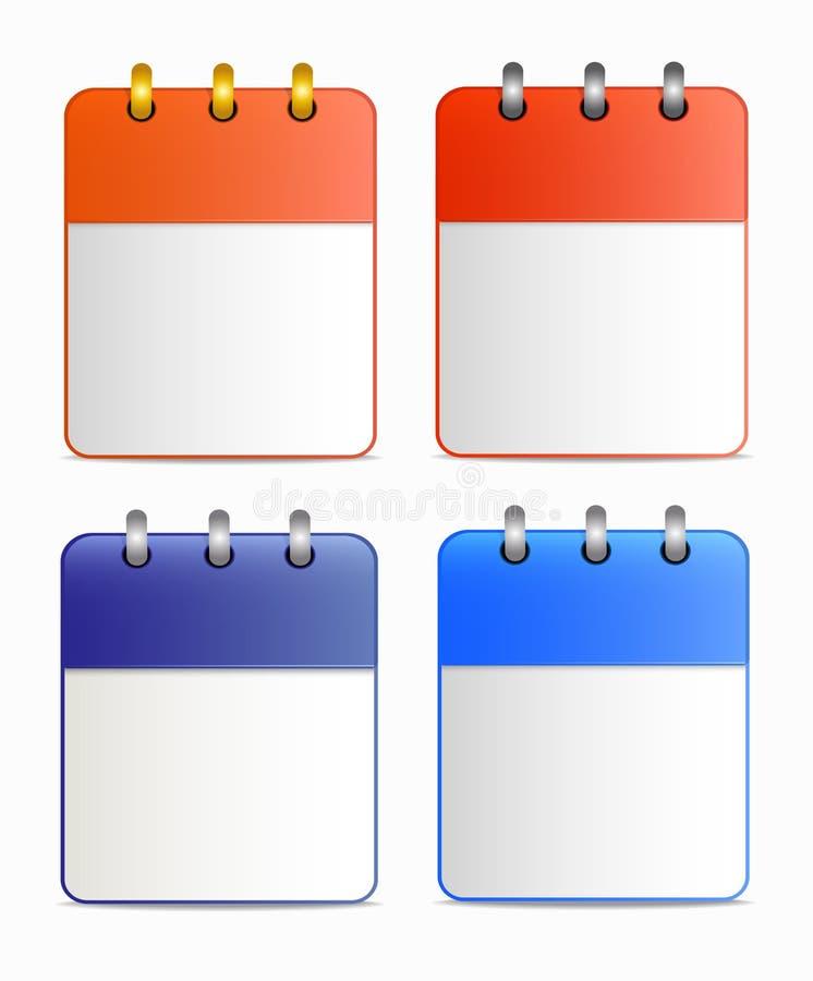 Pusty prześcieradło kalendarzowa ikona w cztery wariantach royalty ilustracja