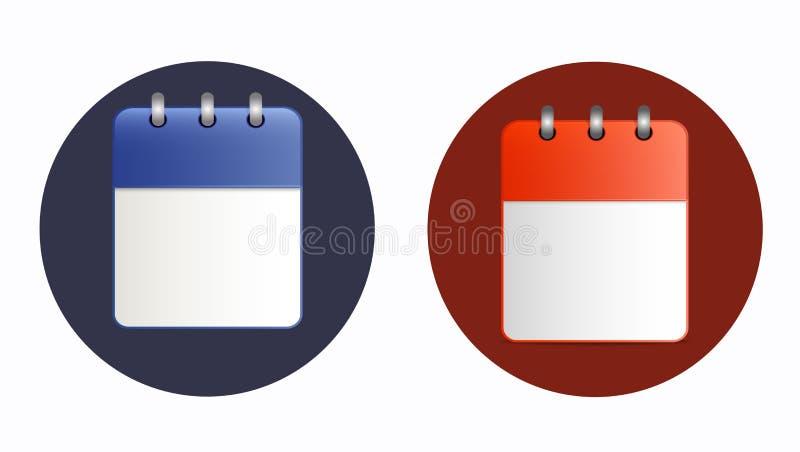 Pusty prześcieradło kalendarzowa ikona w dwa wariantach royalty ilustracja