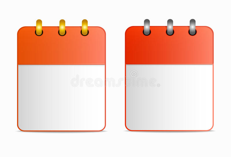 Pusty prześcieradło kalendarzowa ikona z srebnymi i złocistymi pierścionkami w dwa wariantach royalty ilustracja