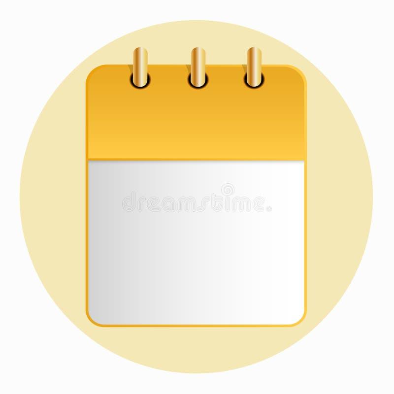 Pusty prześcieradło kalendarzowy żółty kolor na lekkim tle ilustracji
