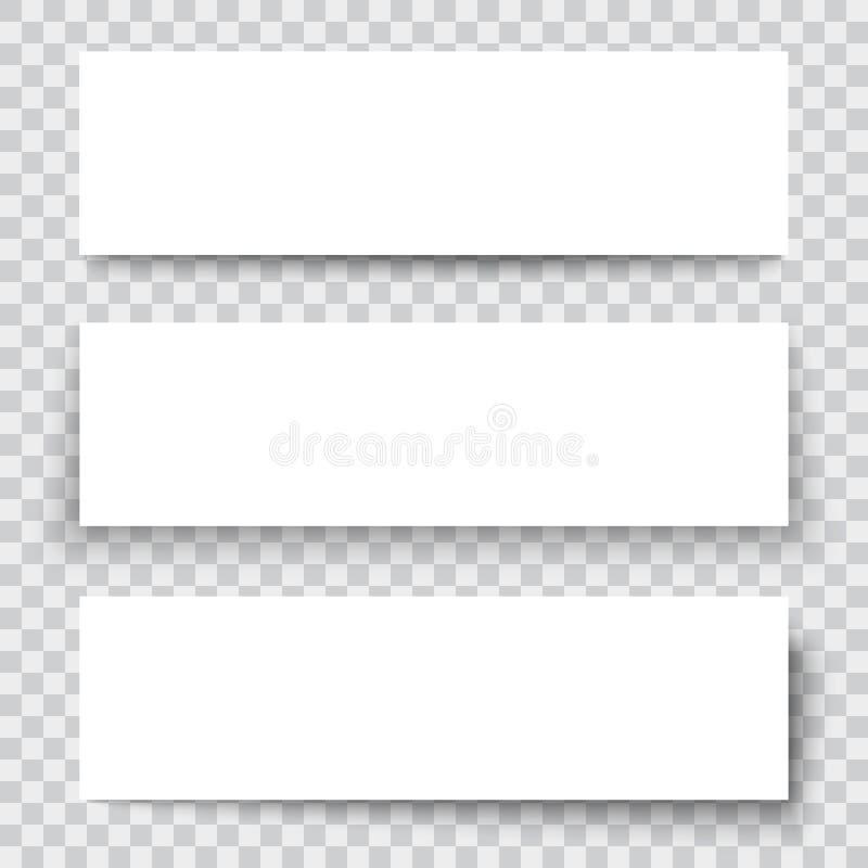 Pusty prześcieradło papier z pionowo sztandarem cieniami i, projektów elementy royalty ilustracja