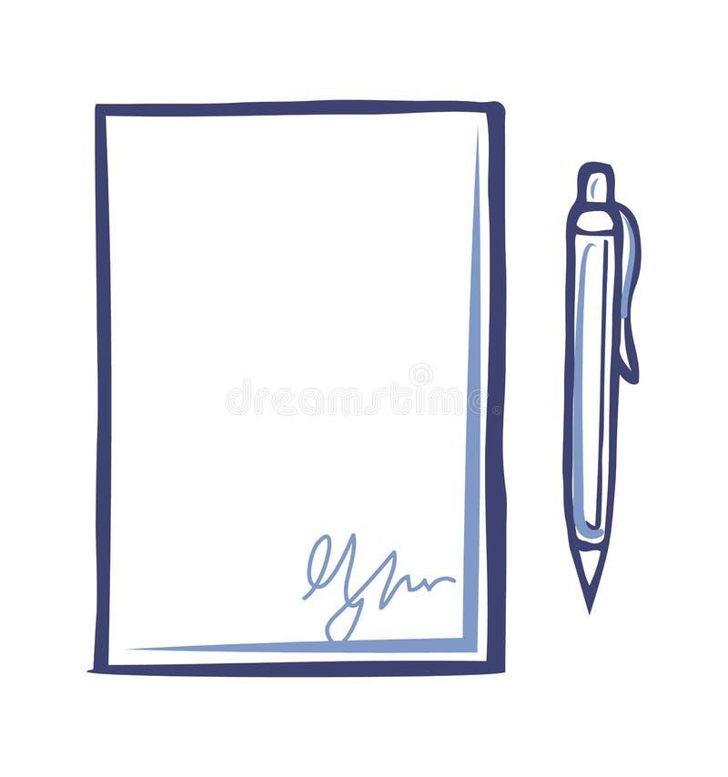 Pusty prześcieradło papier z podpisem, fontanny pióro royalty ilustracja