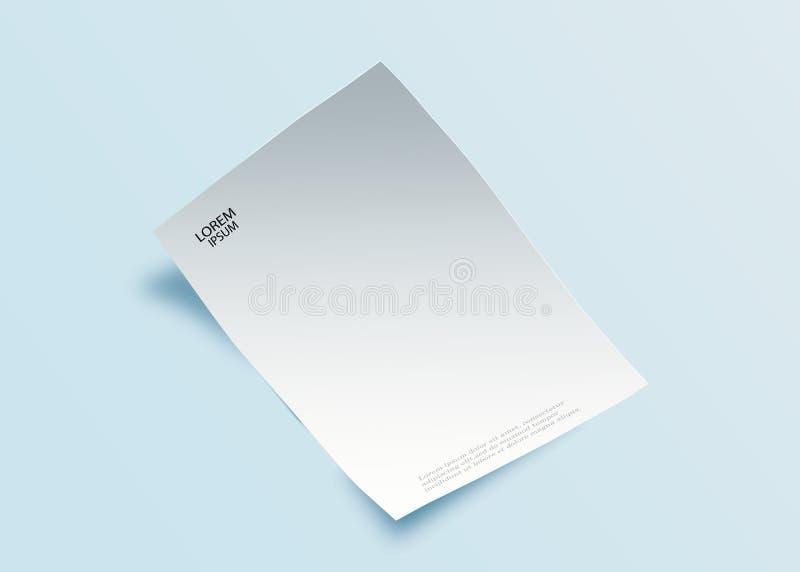 Pusty prześcieradło papier z, projekta element dla reklamować, promocyjna wiadomość odizolowywająca na białym backgroun, i royalty ilustracja