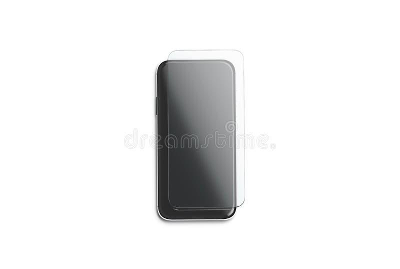 Pusty przejrzysty ochrony szkło na telefonu ekranu egzaminie próbnym w górę ilustracja wektor
