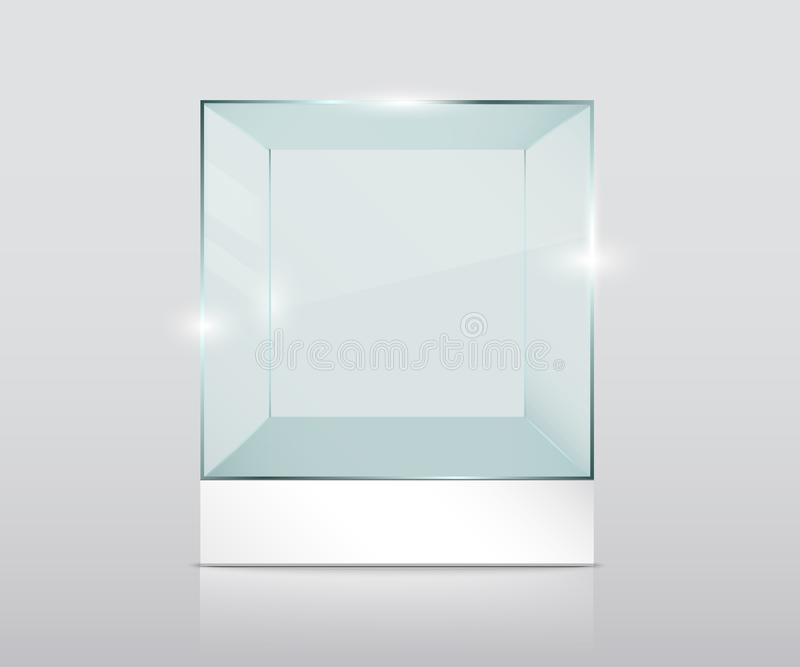 Pusty przejrzysty szklany sześcian royalty ilustracja